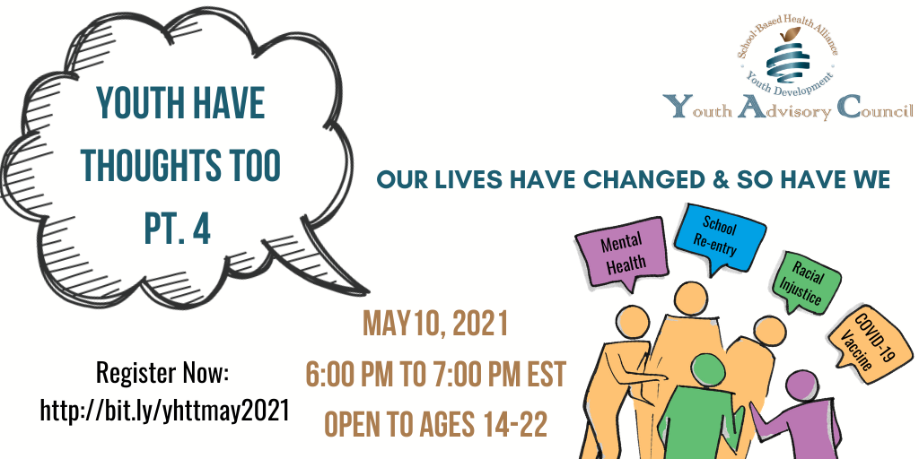 Youth Adivory Counsel - Youth have a voice too. Meeting May 10, 2021 from 6-7:00 p.m. Sign up http://bit.lyhttmay2021